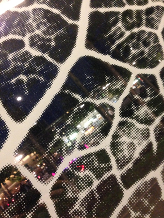 Mönster i glaset på busskuren i stan