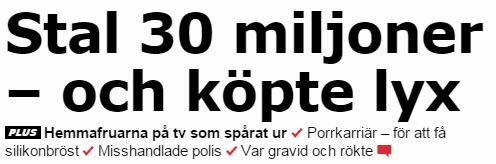 Skärmdump Aftonbladet rubrik om hemmafruar på tv