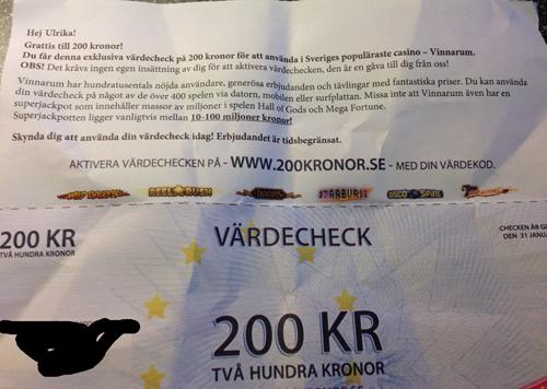 Värdecheck 200 kr