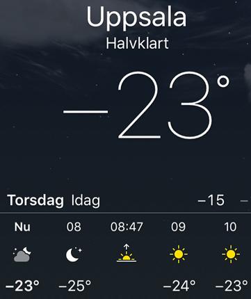 23 grader kallt