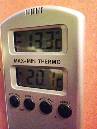 Termometer minus 13 grader