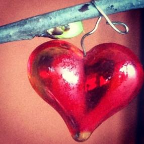 Rött glashjärta