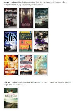 Skärmdump lästa böcker i januari