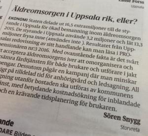 Insändare om äldreomsorg av Sören Snygg