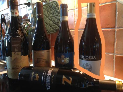 Fem italienska viner Ricossa Barolo inringad